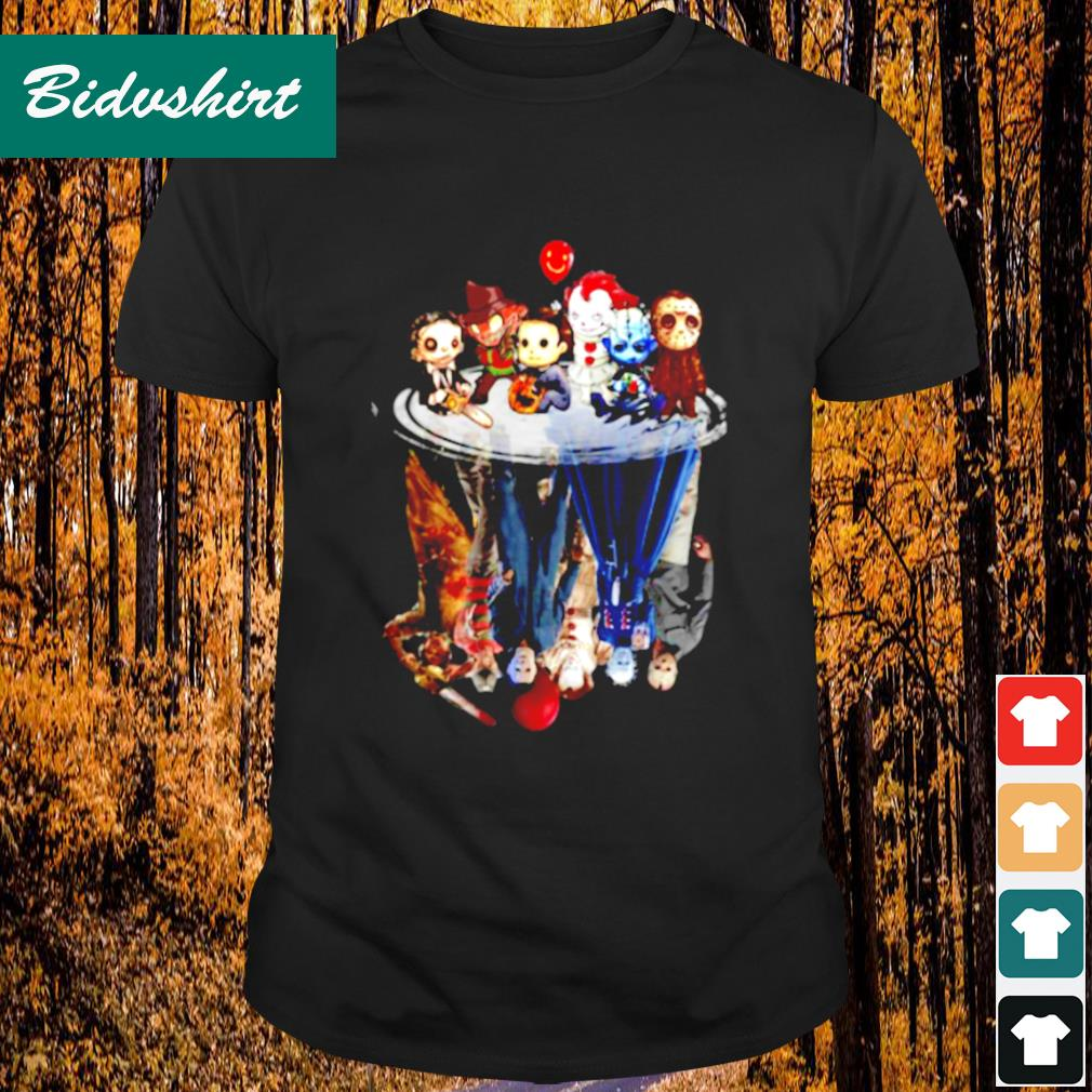 Horror movie characters ưater mirror reflection shirt