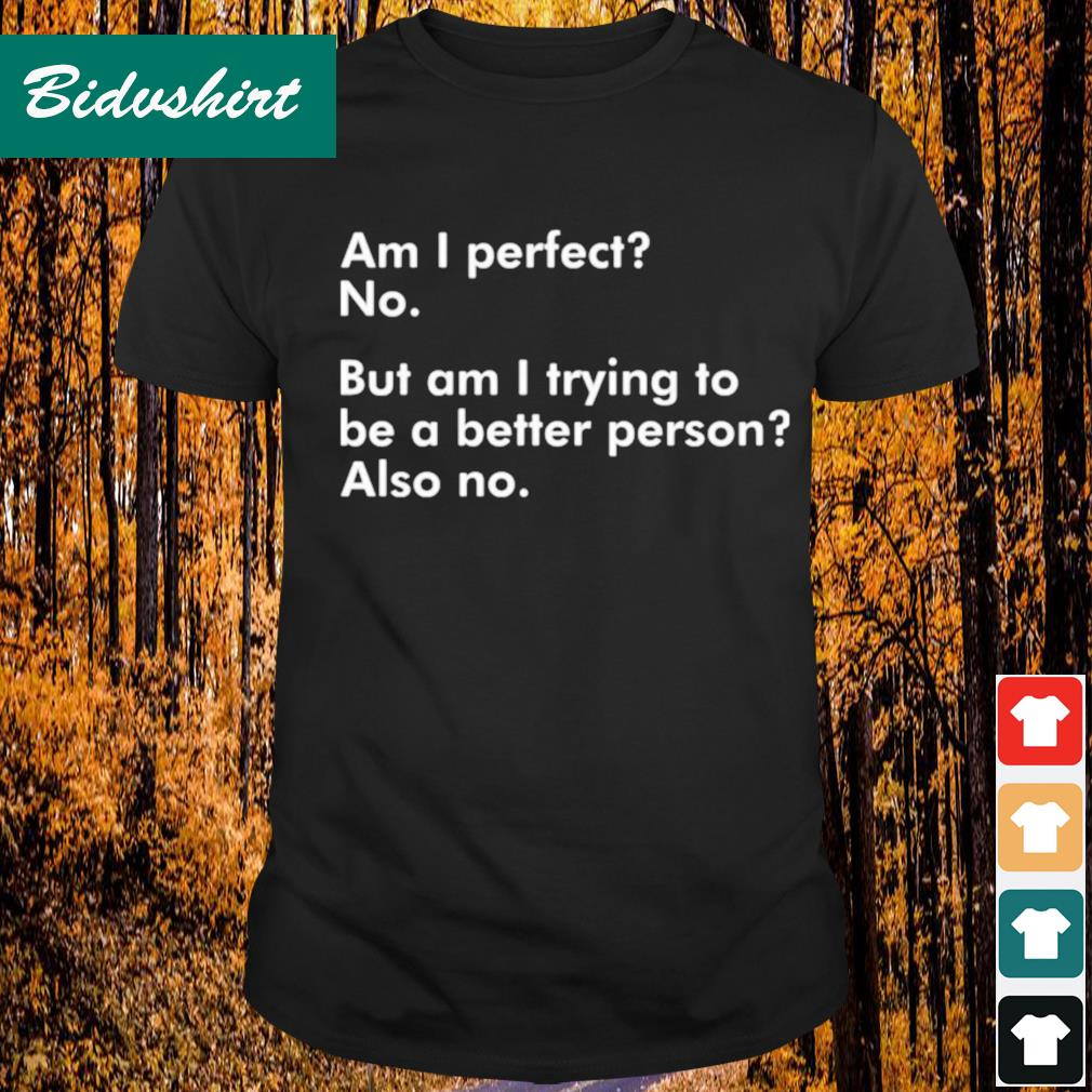 Am I perfect no but am I trying to be a better person also no shirt