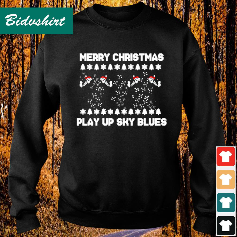 Merry Christmas play up sky blues s Sweater