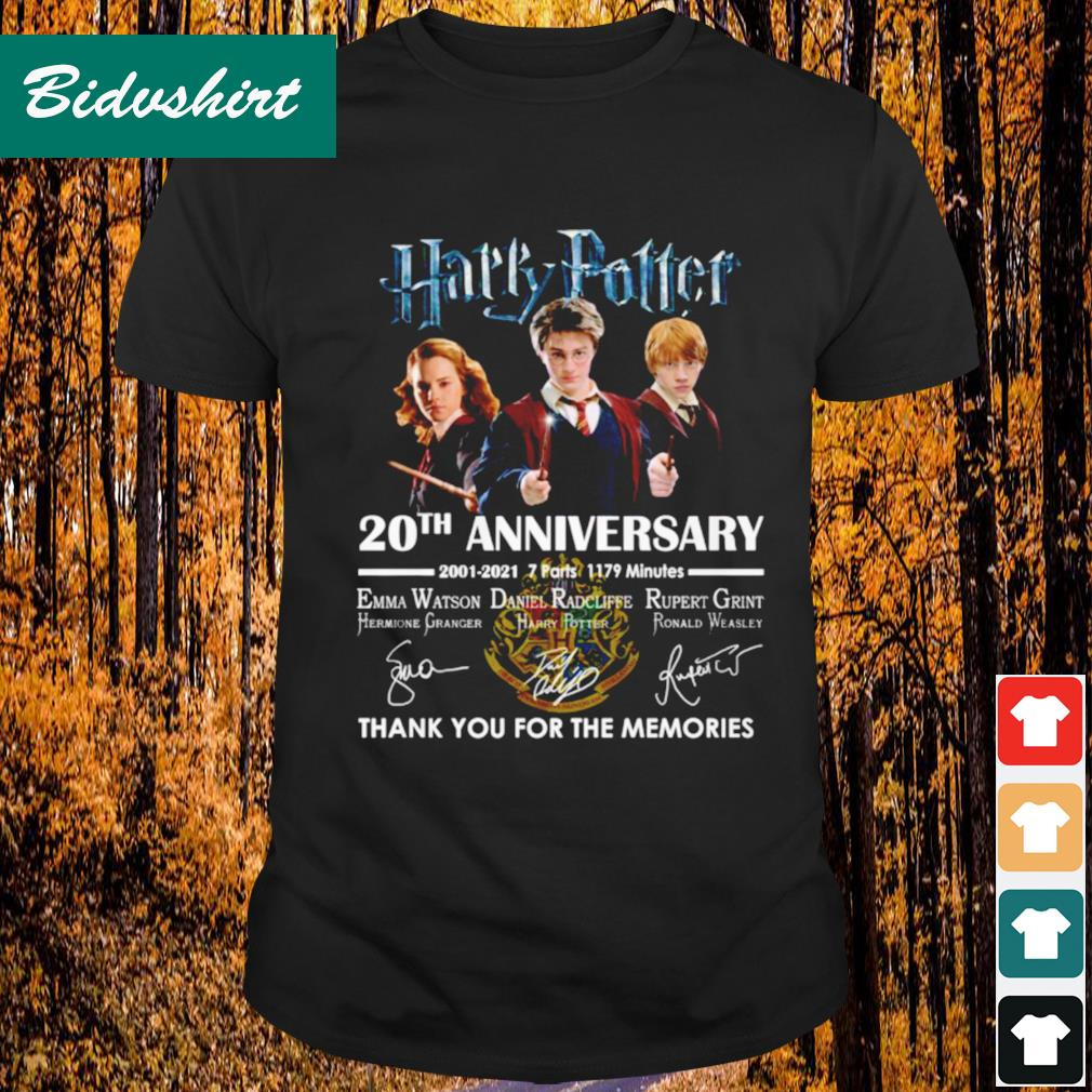 Harry Potter 20th anniversary 2001 2021 thank you for the memories shirt