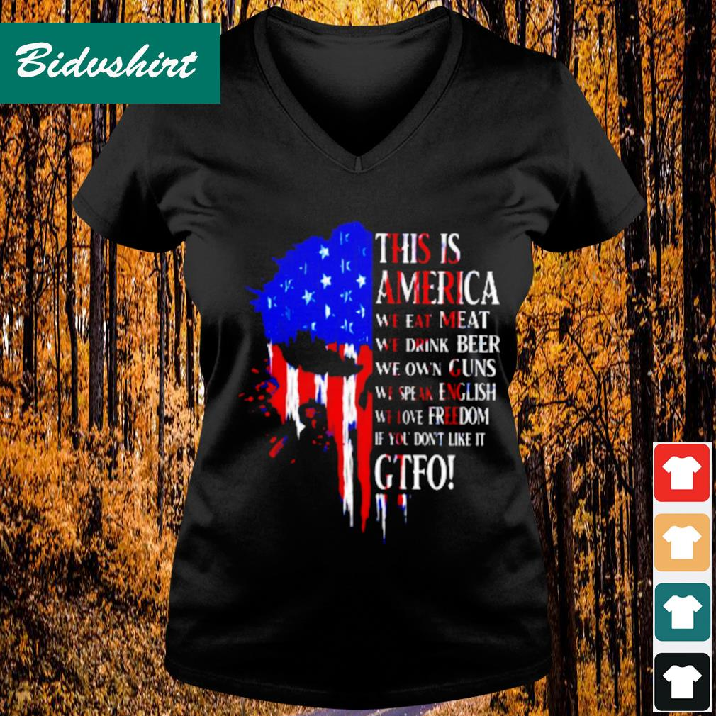 This is America we eat meat we drink beer we own guns s V-neck t-shirt